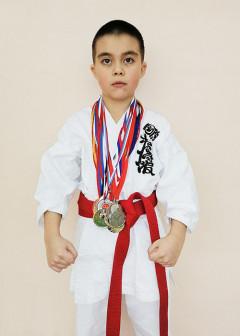 5 кю. Победитель и призёр городских и областных турниров по Сётокан каратэ SKIF и Всестилевому каратэ.